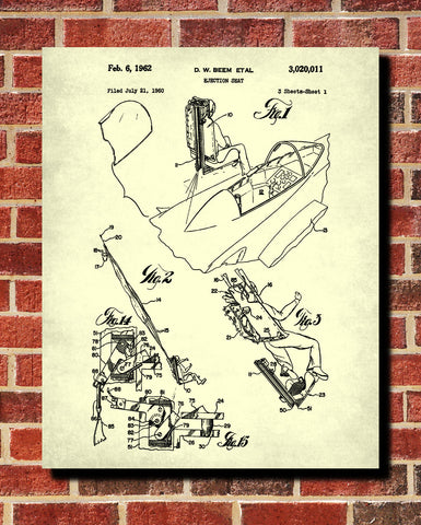 Aircraft Ejector Seat Blueprint Poster Patent Print Wall Art - OnTrendAndFab
