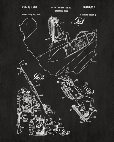 Aircraft ejector seat blueprint poster patent print wall art aircraft ejector seat blueprint poster patent print wall art ontrendandfab malvernweather Choice Image