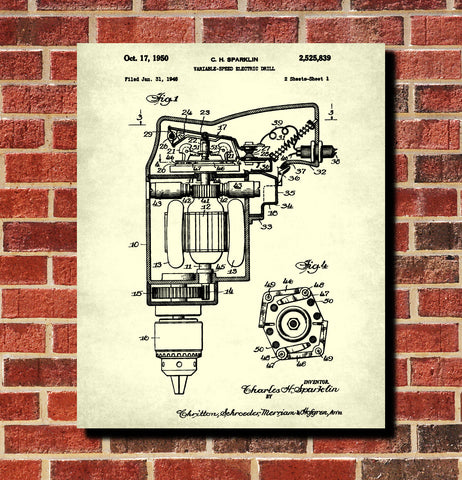 Electric Drill Blueprint Power Tools Patent Workshop Art