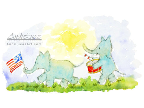 Elephant Parade Cute Children's Nursery Wall Art Print