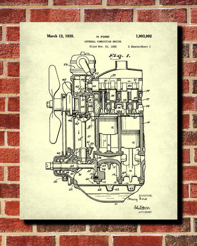 Engine Blueprint Automotive Ford Car Patent Print Garage Poster