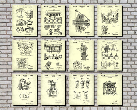 Engine Patent Prints Set 12 Motoring Posters Mechanic Gift