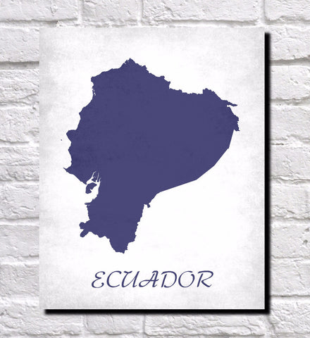 Ecuador Map Print Outline Wall Map of Ecuador