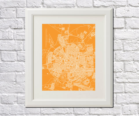 Erbil, Iraq Street Map Print Feature Wall Art Poster