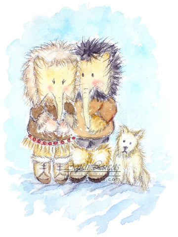 Elephant Eskimos Cute Children's Nursery Wall Art Print