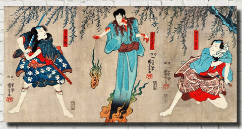 Warriors Battling Female Spirit Japanese Fine Art Print - GalleryThane.com