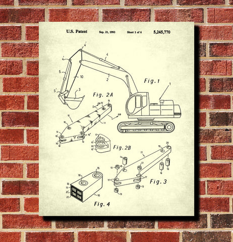 Excavator Blueprint Mining Equipment Poster Klondike Gold Rush