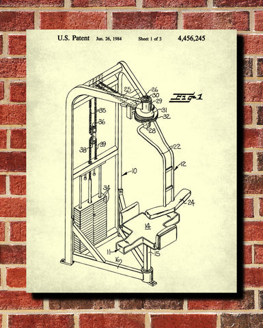 Exercise Equipment Patent Poster Gym Art Print