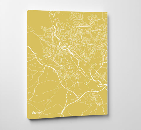 Exeter City Street Map Print Feature Wall Art Poster