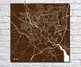 Exeter City Street Map Print Custom Wall Map