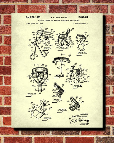 Eyelash Curler Patent Print Salon Blueprint Beauty Poster
