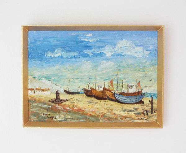 Fishing Boats Hastings Beach Oil Painting Ocean Wall Art Framed
