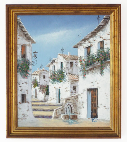 Spanish Village Scene Oil Painting Framed Vintage Architecture