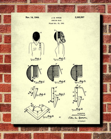 Fencing Patent Print Mask Blueprint Sports Poster