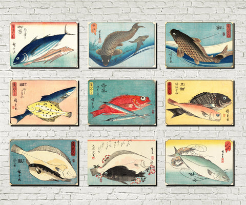 Set 9 Fish Prints Andō Hiroshige, Japanese Gallery Art