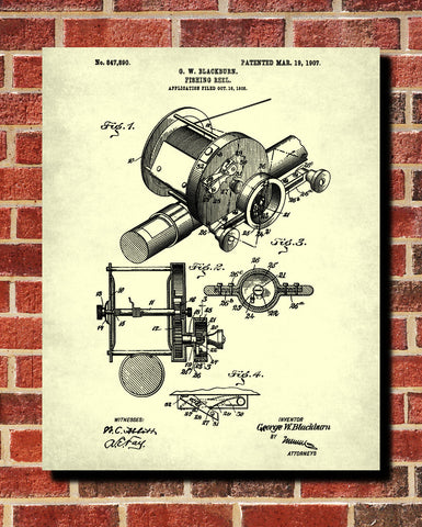 Fishing Reel Blueprint Angling Poster Patent Print