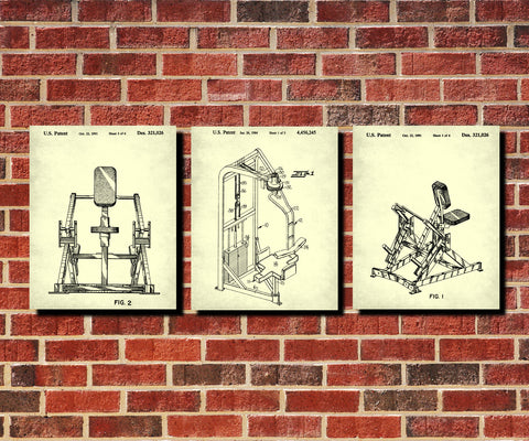 Gym Equipment Patent Prints Set 3 Fitness Blueprint Posters