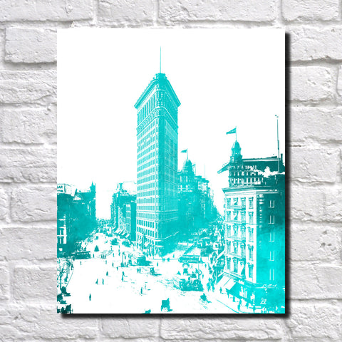 Flatiron New York Print Railway Landscape Poster Feature Wall Art