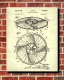 Flying Saucer Patent Print UFO Blueprint Spaceship Poster