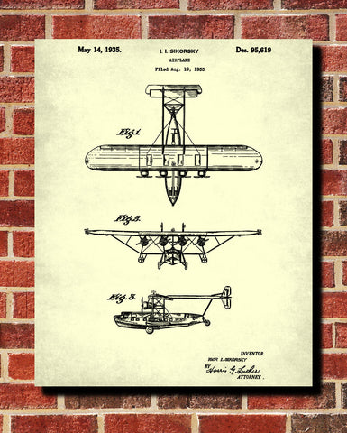 Flying Boat Patent Print Aviation Blueprint Aircraft Pilot Poster