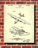 Flying Boat Patent Print Aviation Blueprint Pilot Poster