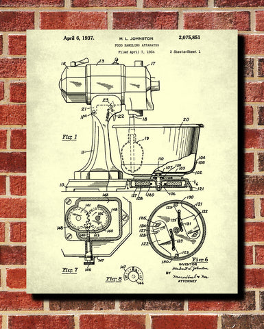 Food Mixer Patent Print Baking Blueprint Kitchen Poster
