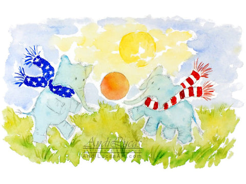 Elephant Football Cute Children's Nursery Wall Art Print