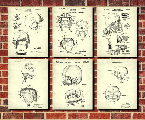 Football Helmets Patent Prints Set 6 Vintage Sports Posters