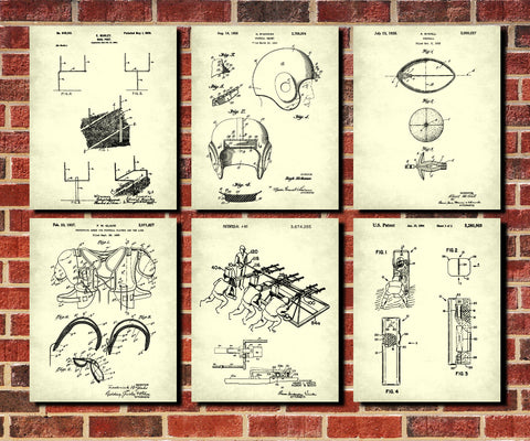 Football patent prints set 6 sports blueprint posters ontrendandfab football patent prints set 6 sports blueprint posters malvernweather Choice Image
