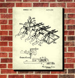 Football Patent Print Training Sled Blueprint Sport Poster