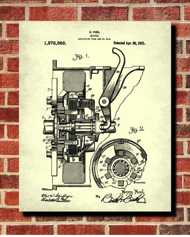 Ford Clutch Patent Print Car Blueprint Workshop Poster - OnTrendAndFab