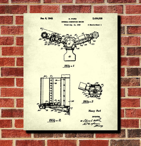 Ford Engine Blueprint Automotive Car Patent Print Garage Poster