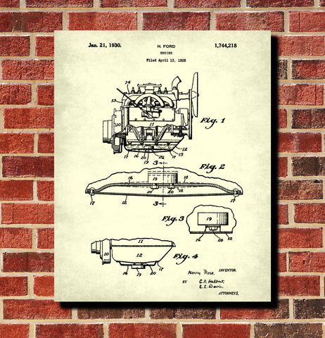 Ford Engine Patent Print Automotive Car Blueprint Garage Poster