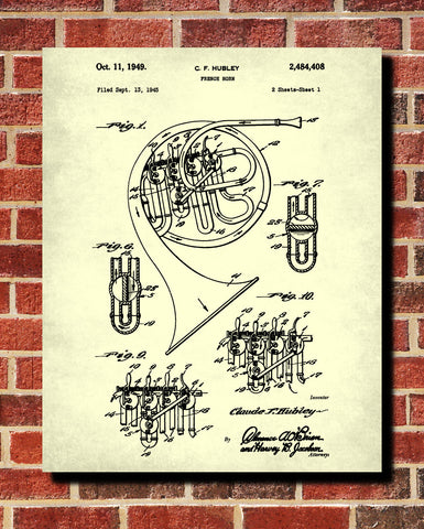 French horn patent print musical instrument blueprint poster french horn patent print musical instrument blueprint poster malvernweather Image collections