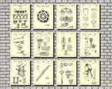 Garage Workshop Patent Prints Set 12 Posters Mechanic Gift