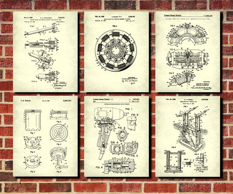 Garage Workshop Patent Prints Set 6 Mechanic Posters