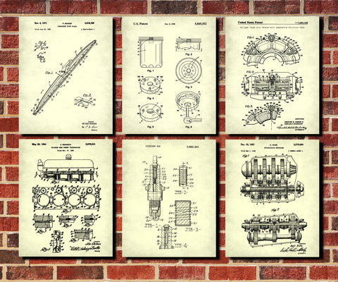 Garage Workshop Patent Prints Set 6 Office Posters