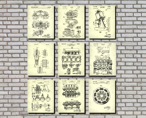 Garage Workshop Patent Prints Set 9 Posters Mechanic Gift