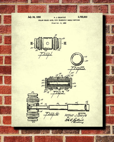 Gavel Patent Print Legal Courtroom Wall Art Poster