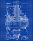 Engineering Patent Print Gears Wall Art Poster