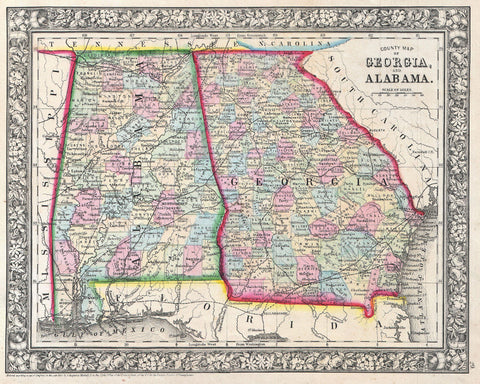 Georgia and Alabama Map Print Vintage USA Poster Old Map as Art - OnTrendAndFab