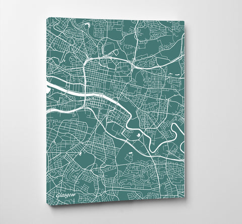 Glasgow City Street Map Print Modern Art Poster Home Decor - OnTrendAndFab