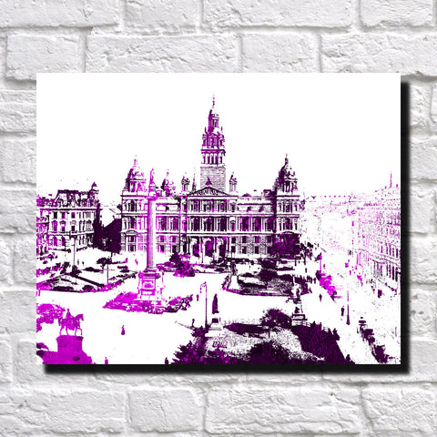 Glasgow City Skyline Print Landscape Poster Feature Wall Art
