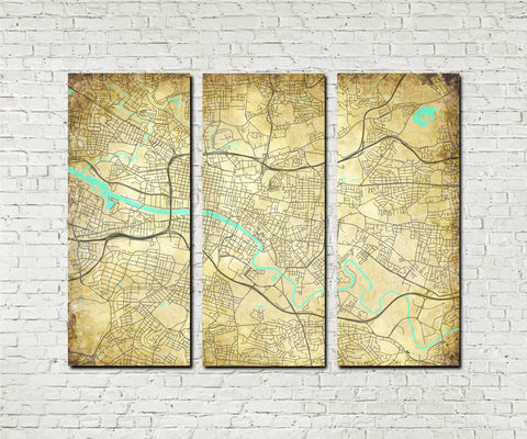 Glasgow Street Map 3 Panel Canvas Wall Map 7100C3