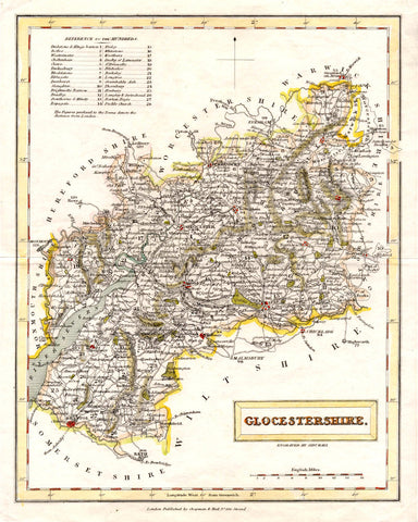 Gloucestershire County Map Print Vintage Poster Old Map as Art - OnTrendAndFab