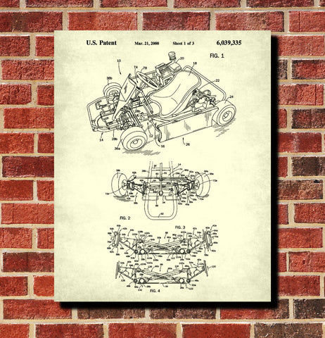 Gokart Patent Print Racing Blueprint Track Car Poster