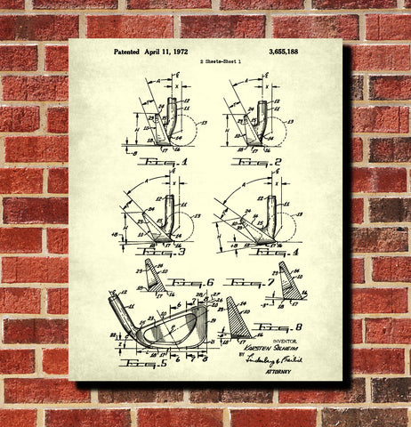 Golf Club Patent Print Golfer Wall Art Golfing Poster