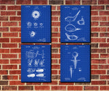 Golf Patent Prints Golfing Wall Art Golfer Posters Set 4