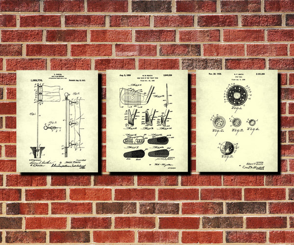 Golf Patent Prints Set 3 Golfing Posters Golfer Blueprints