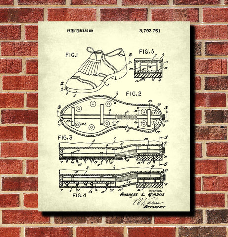 Golfing Shoes Patent Print Golf Gift Golfer Poster